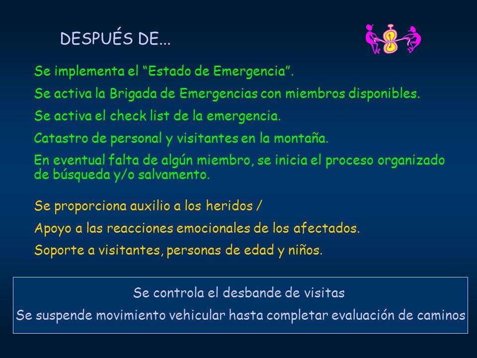 DESPUÉS DE... Se implementa el Estado de Emergencia. Se activa la Brigada de Emergencias con miembros disponibles. Se activa el check list de la emerg
