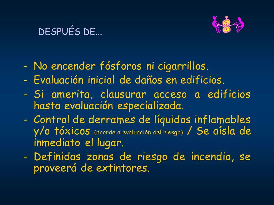 DESPUÉS DE... -No encender fósforos ni cigarrillos. -Evaluación inicial de daños en edificios. -Si amerita, clausurar acceso a edificios hasta evaluac