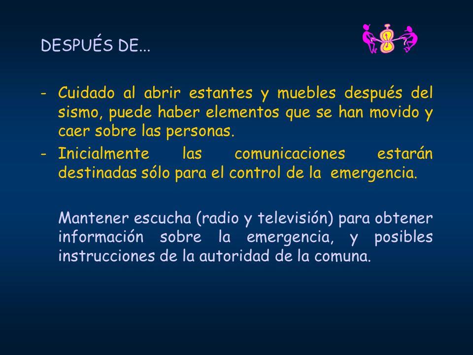 DESPUÉS DE... -Cuidado al abrir estantes y muebles después del sismo, puede haber elementos que se han movido y caer sobre las personas. -Inicialmente