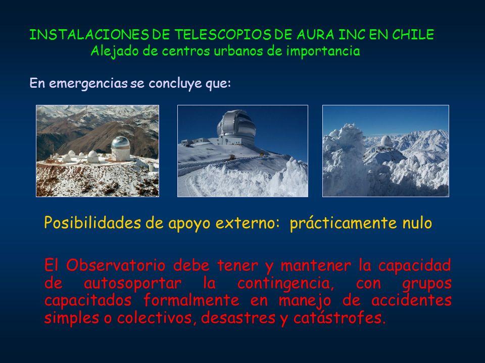 INSTALACIONES DE TELESCOPIOS DE AURA INC EN CHILE Alejado de centros urbanos de importancia En emergencias se concluye que: Posibilidades de apoyo ext