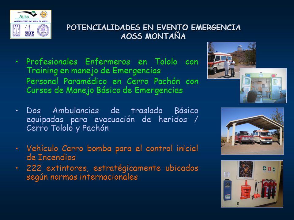 POTENCIALIDADES EN EVENTO EMERGENCIA AOSS MONTAÑA Profesionales Enfermeros en Tololo con Training en manejo de Emergencias Personal Paramédico en Cerr