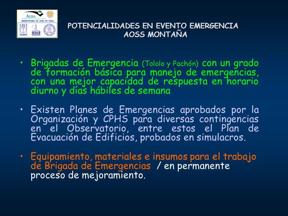 POTENCIALIDADES EN EVENTO EMERGENCIA AOSS MONTAÑA Brigadas de Emergencia (Tololo y Pachón) con un grado de formación básica para manejo de emergencias