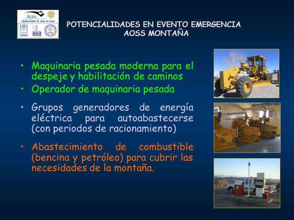 POTENCIALIDADES EN EVENTO EMERGENCIA AOSS MONTAÑA Maquinaria pesada moderna para el despeje y habilitación de caminos Operador de maquinaria pesada Grupos generadores de energía eléctrica para autoabastecerse (con periodos de racionamiento) Abastecimiento de combustible (bencina y petróleo) para cubrir las necesidades de la montaña.