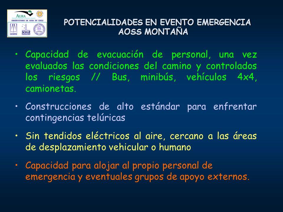 POTENCIALIDADES EN EVENTO EMERGENCIA AOSS MONTAÑA Capacidad de evacuación de personal, una vez evaluados las condiciones del camino y controlados los riesgos // Bus, minibús, vehículos 4x4, camionetas.
