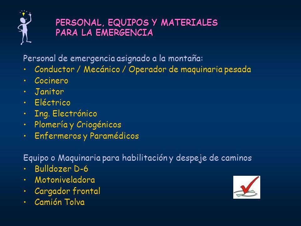 PERSONAL, EQUIPOS Y MATERIALES PARA LA EMERGENCIA Personal de emergencia asignado a la montaña: Conductor / Mecánico / Operador de maquinaria pesada C