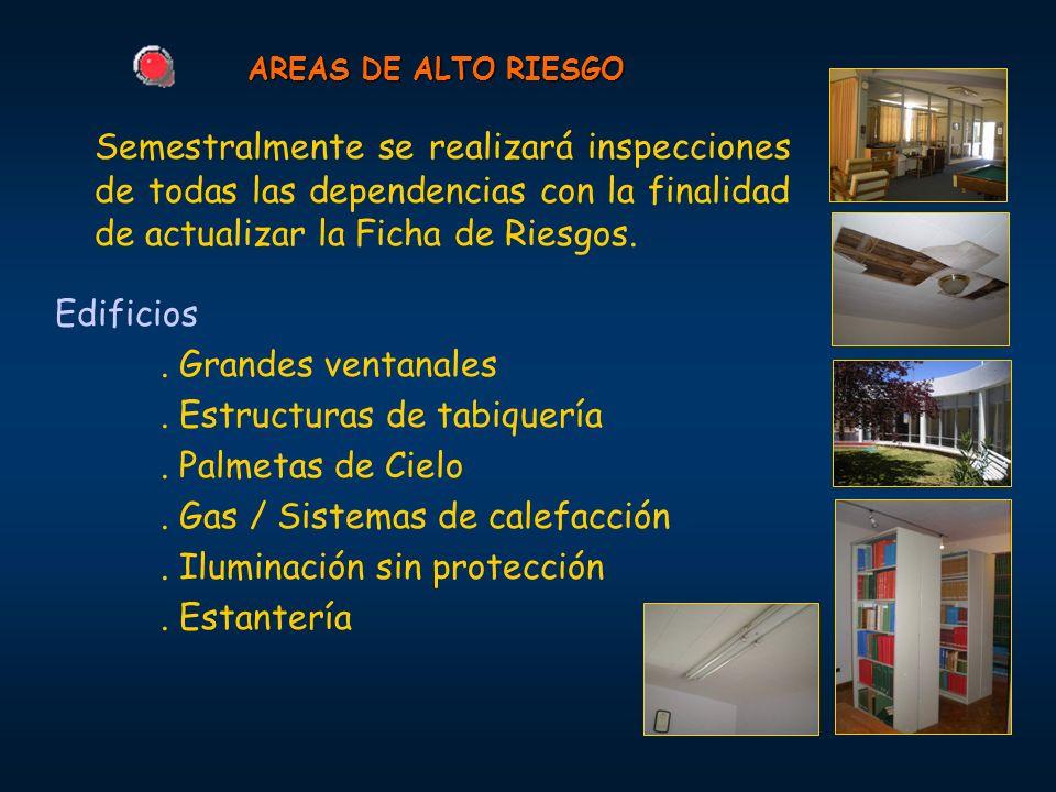 AREAS DE ALTO RIESGO Semestralmente se realizará inspecciones de todas las dependencias con la finalidad de actualizar la Ficha de Riesgos. Edificios.