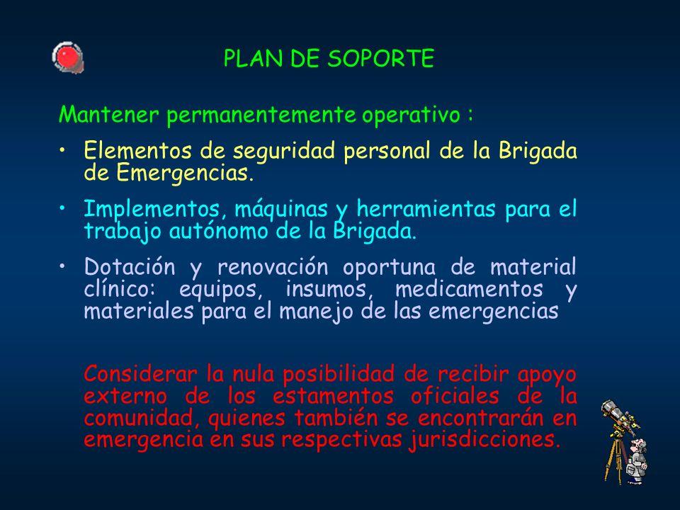 PLAN DE SOPORTE Mantener permanentemente operativo : Elementos de seguridad personal de la Brigada de Emergencias. Implementos, máquinas y herramienta