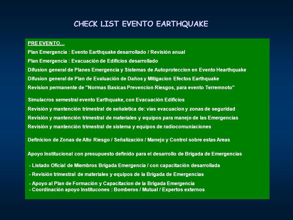CHECK LIST EVENTO EARTHQUAKE PRE EVENTO… Plan Emergencia : Evento Earthquake desarrollado / Revisión anual Plan Emergencia : Evacuación de Edificios d