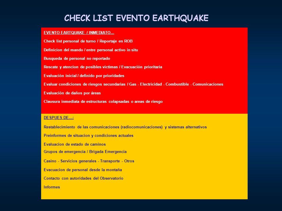 CHECK LIST EVENTO EARTHQUAKE EVENTO EARTQUAKE / INMEDIATO… Check list personal de turno / Reportaje en ROB Definicion del mando / entre personal activ