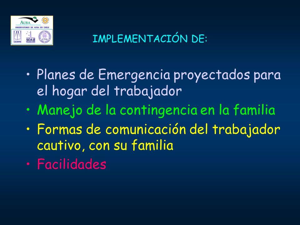 IMPLEMENTACIÓN DE: Planes de Emergencia proyectados para el hogar del trabajador Manejo de la contingencia en la familia Formas de comunicación del tr