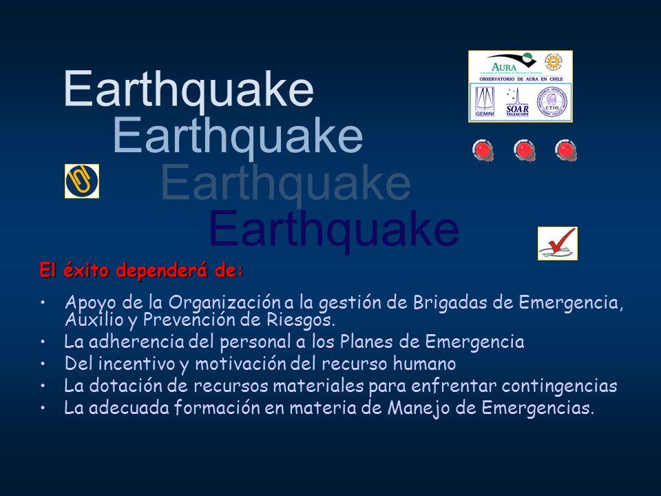 Earthquake El éxito dependerá de: Apoyo de la Organización a la gestión de Brigadas de Emergencia, Auxilio y Prevención de Riesgos. La adherencia del
