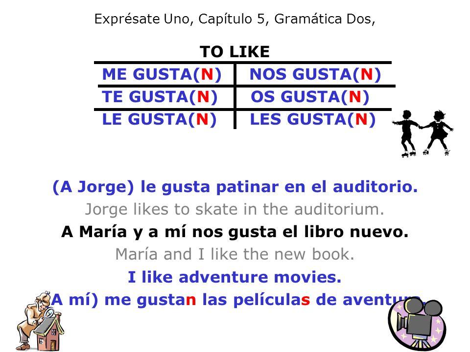 Exprésate Uno, Capítulo 5, Gramática Dos, TO LIKE ME GUSTA(N) NOS GUSTA(N) TE GUSTA(N) OS GUSTA(N) LE GUSTA(N) LES GUSTA(N) (A Jorge) le gusta patinar