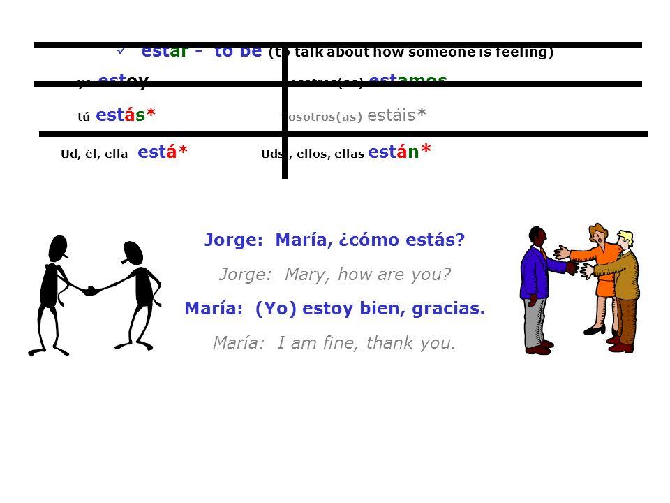 estar - to be (to talk about how someone is feeling) yo estoy nosotros(as) estamos tú estás* vosotros(as) estáis* Ud, él, ella está* Uds., ellos, ella