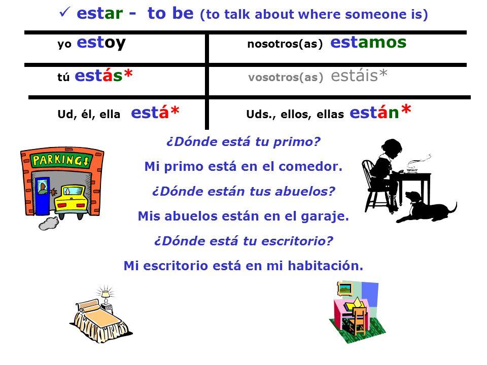 estar - to be (to talk about where someone is) yo estoy nosotros(as) estamos tú estás* vosotros(as) estáis* Ud, él, ella está* Uds., ellos, ellas está