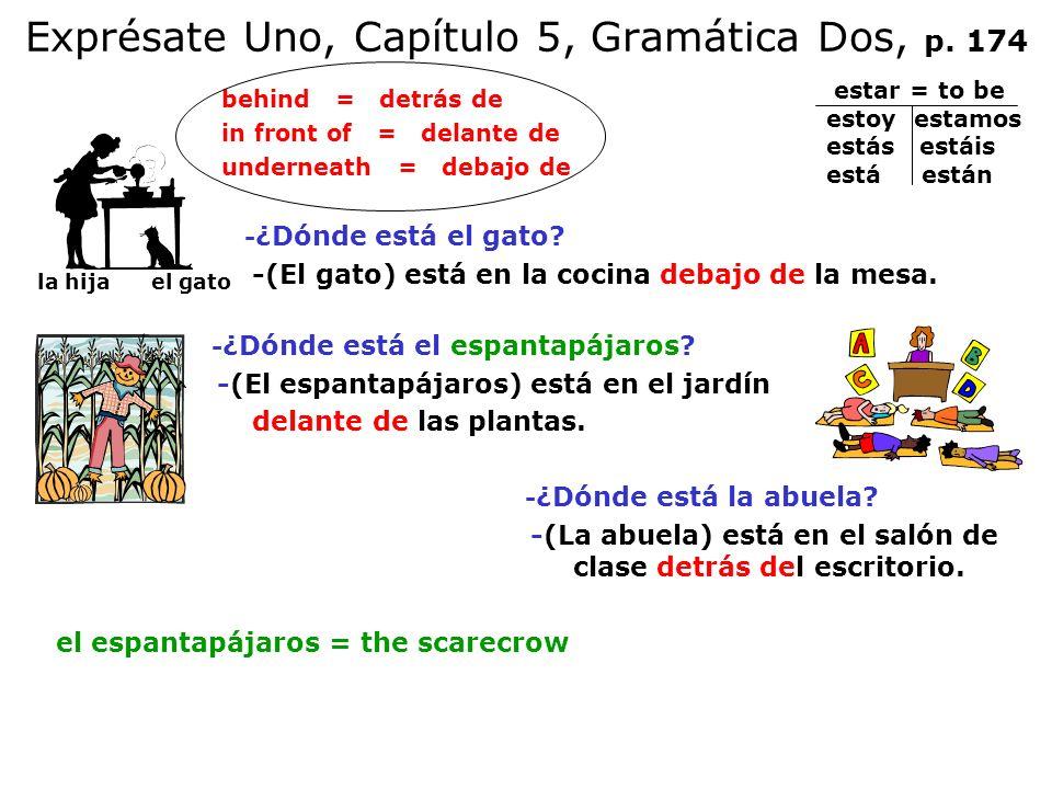 Exprésate Uno, Capítulo 5, Gramática Dos, p. 174 behind = detrás de in front of = delante de underneath = debajo de - ¿Dónde está el gato? -(El gato)