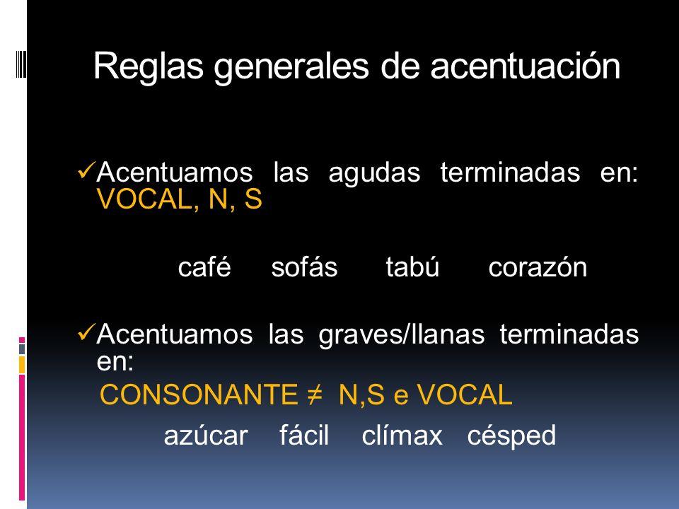 Reglas generales de acentuación VOCAL, N, S Acentuamos las agudas terminadas en: VOCAL, N, S café sofás tabú corazón Acentuamos las graves/llanas term