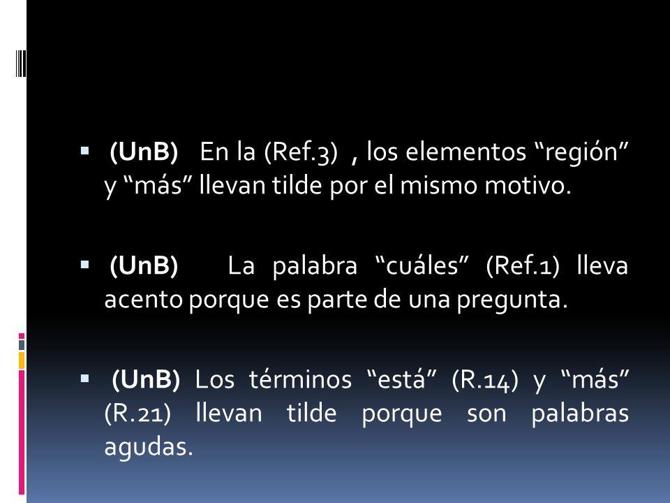 (UnB) En la (Ref.3), los elementos región y más llevan tilde por el mismo motivo. (UnB) La palabra cuáles (Ref.1) lleva acento porque es parte de una