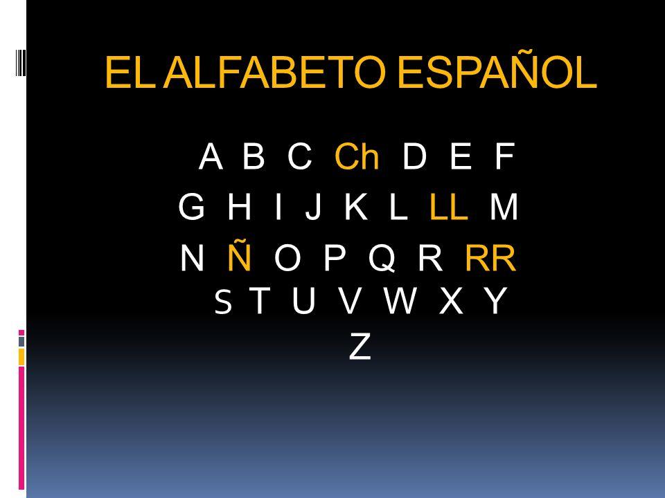 EL ALFABETO ESPAÑOL A B C Ch D E F G H I J K L LL M N Ñ O P Q R RR S T U V W X Y Z