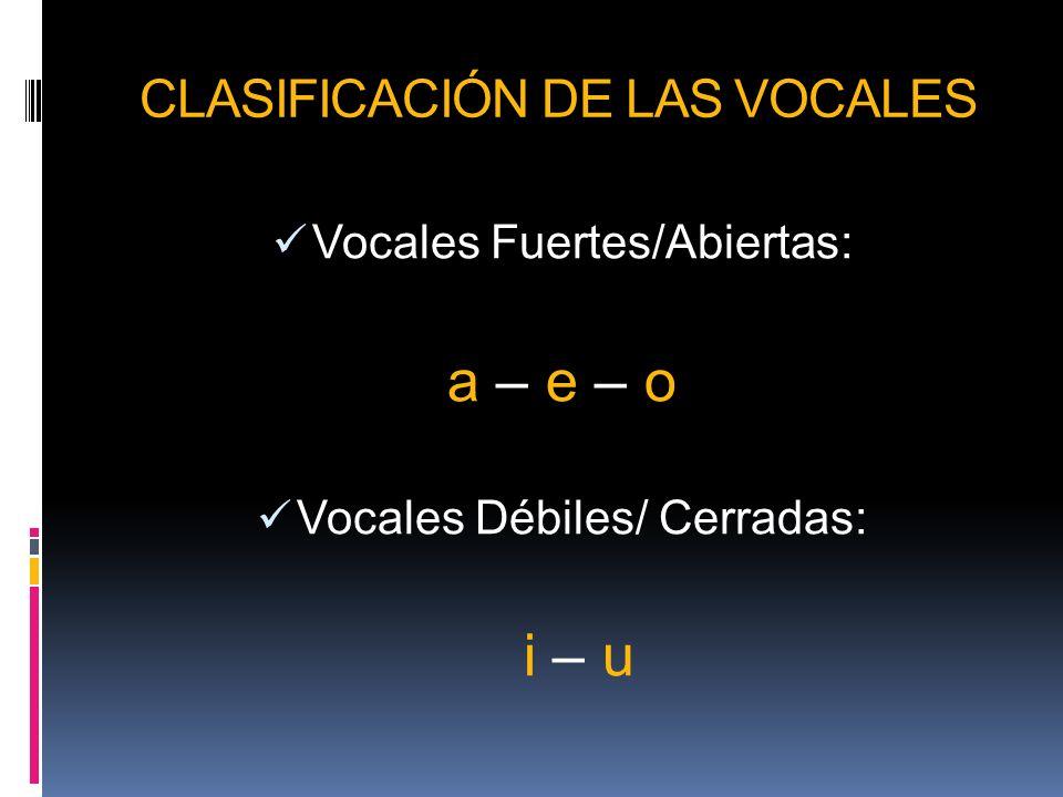 CLASIFICACIÓN DE LAS VOCALES Vocales Fuertes/Abiertas: a – e – o Vocales Débiles/ Cerradas: i – u