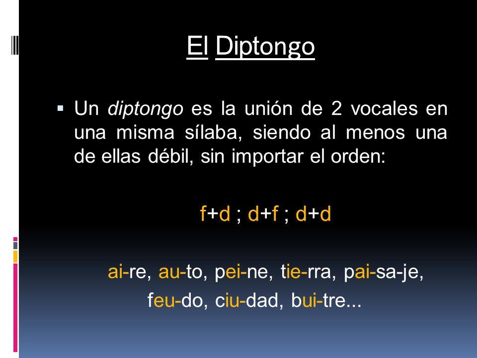 El Dipt ongo Un diptongo es la unión de 2 vocales en una misma sílaba, siendo al menos una de ellas débil, sin importar el orden: f+d ; d+f ; d+d ai-r