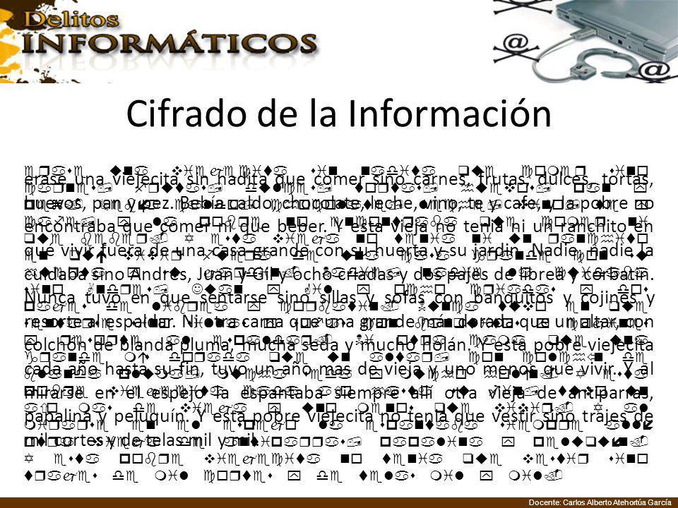 Docente: Carlos Alberto Atehortúa García Cifrado de la Información erase una viejecita sin nadita que comer sino carnes, frutas, dulces, tortas, huevos, pan y pez.