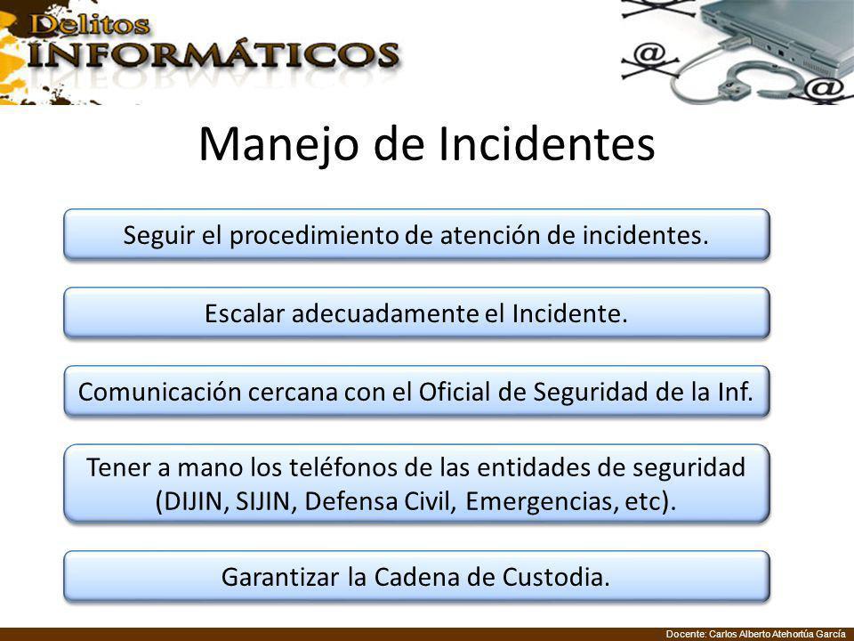 Docente: Carlos Alberto Atehortúa García Manejo de Incidentes Seguir el procedimiento de atención de incidentes. Escalar adecuadamente el Incidente. C