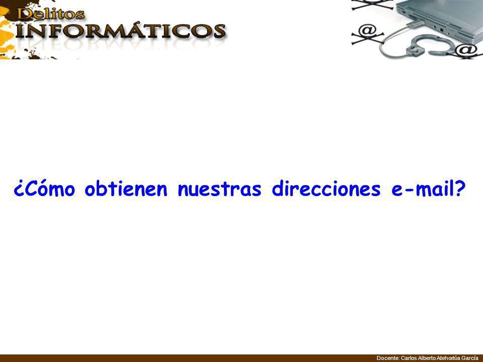 Docente: Carlos Alberto Atehortúa García ¿Cómo obtienen nuestras direcciones e-mail?