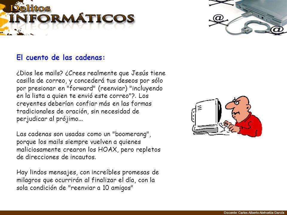 Docente: Carlos Alberto Atehortúa García El cuento de las cadenas: ¿Dios lee mails? ¿Crees realmente que Jesús tiene casilla de correo, y concederá tu