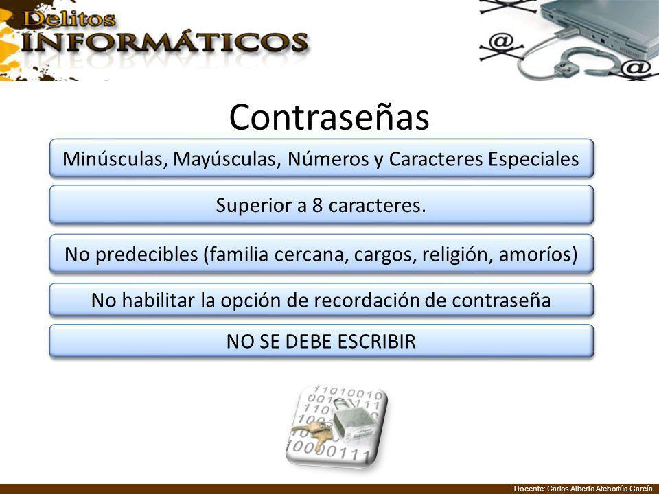 Docente: Carlos Alberto Atehortúa García Contraseñas Minúsculas, Mayúsculas, Números y Caracteres Especiales Superior a 8 caracteres. No predecibles (