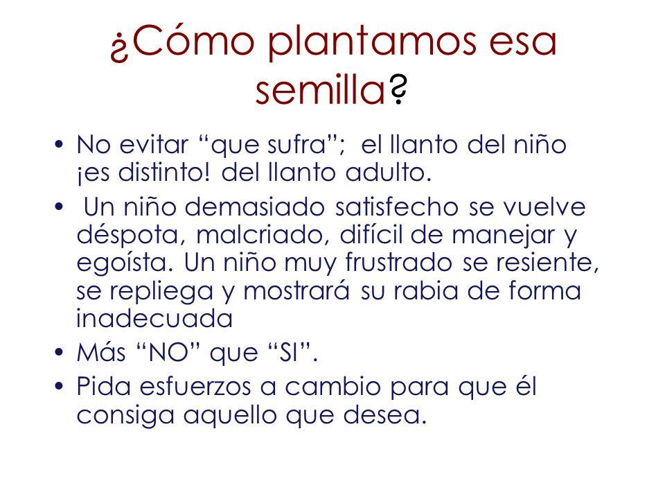 ¿Cómo plantamos esa semilla? No evitar que sufra; el llanto del niño ¡es distinto! del llanto adulto. Un niño demasiado satisfecho se vuelve déspota,