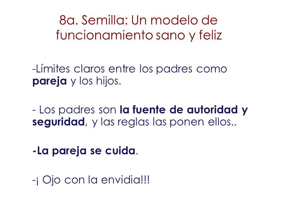8a. Semilla: Un modelo de funcionamiento sano y feliz -Límites claros entre los padres como pareja y los hijos. - Los padres son la fuente de autorida