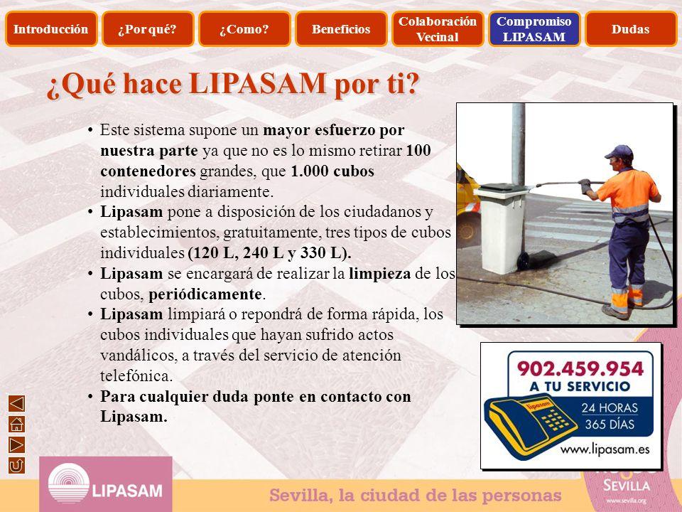 ¿Qué hace LIPASAM por ti? Este sistema supone un mayor esfuerzo por nuestra parte ya que no es lo mismo retirar 100 contenedores grandes, que 1.000 cu