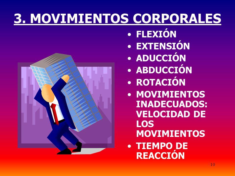 10 3. MOVIMIENTOS CORPORALES FLEXIÓN EXTENSIÓN ADUCCIÓN ABDUCCIÓN ROTACIÓN MOVIMIENTOS INADECUADOS: VELOCIDAD DE LOS MOVIMIENTOS TIEMPO DE REACCIÓN