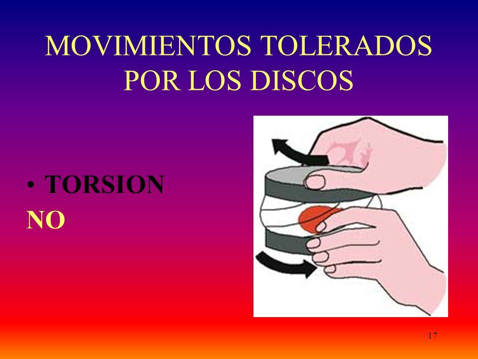 17 MOVIMIENTOS TOLERADOS POR LOS DISCOS TORSION NO