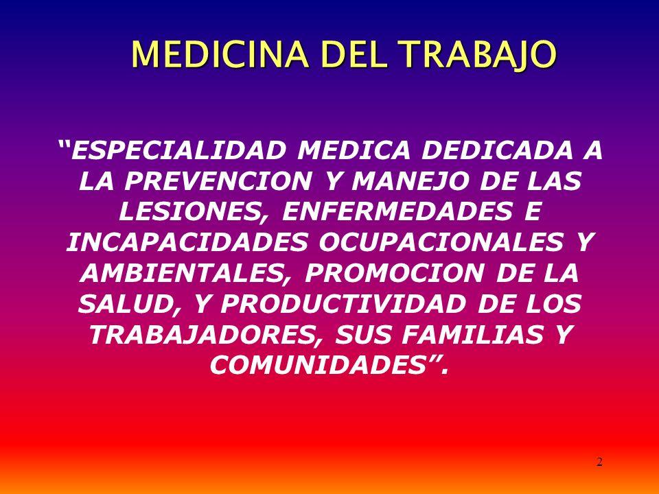 2 MEDICINA DEL TRABAJO ESPECIALIDAD MEDICA DEDICADA A LA PREVENCION Y MANEJO DE LAS LESIONES, ENFERMEDADES E INCAPACIDADES OCUPACIONALES Y AMBIENTALES