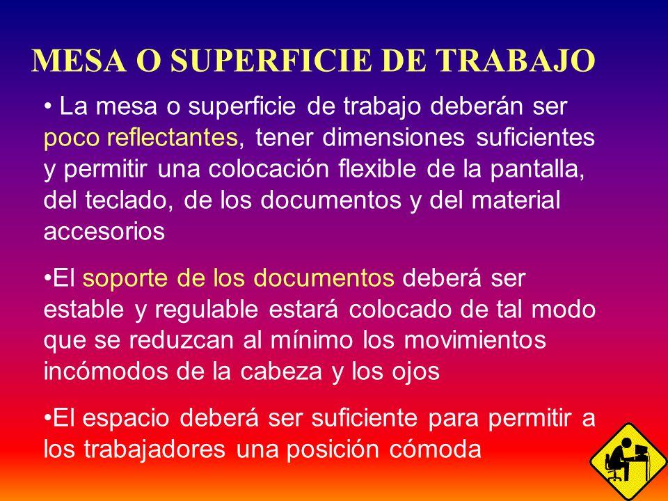 39 MESA O SUPERFICIE DE TRABAJO La mesa o superficie de trabajo deberán ser poco reflectantes, tener dimensiones suficientes y permitir una colocación