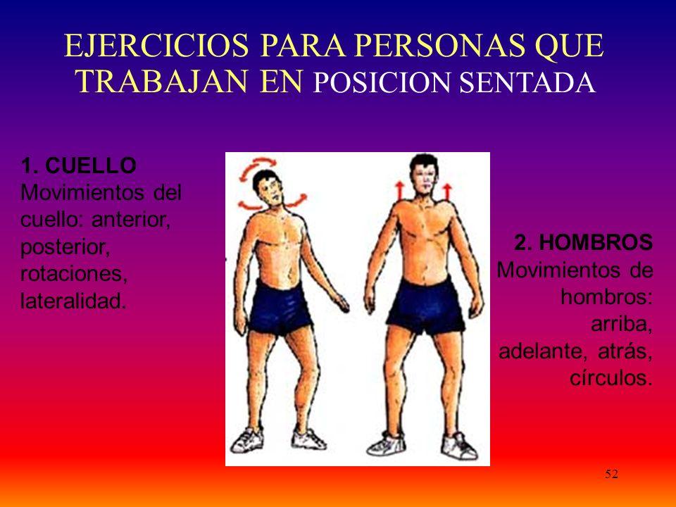 52 1. CUELLO Movimientos del cuello: anterior, posterior, rotaciones, lateralidad. 2. HOMBROS Movimientos de hombros: arriba, adelante, atrás, círculo