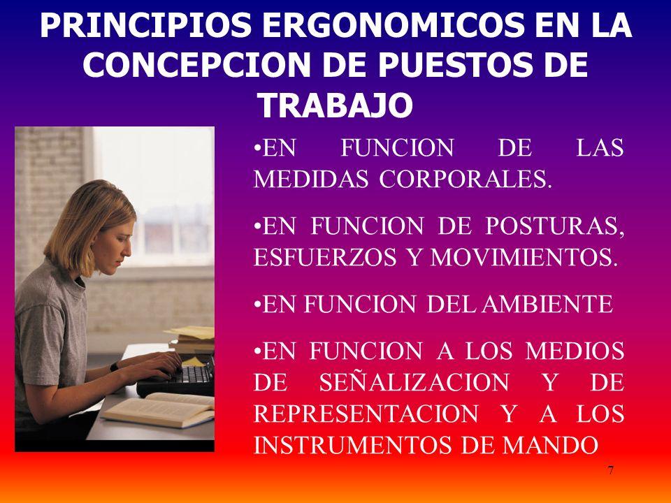 7 PRINCIPIOS ERGONOMICOS EN LA CONCEPCION DE PUESTOS DE TRABAJO EN FUNCION DE LAS MEDIDAS CORPORALES. EN FUNCION DE POSTURAS, ESFUERZOS Y MOVIMIENTOS.