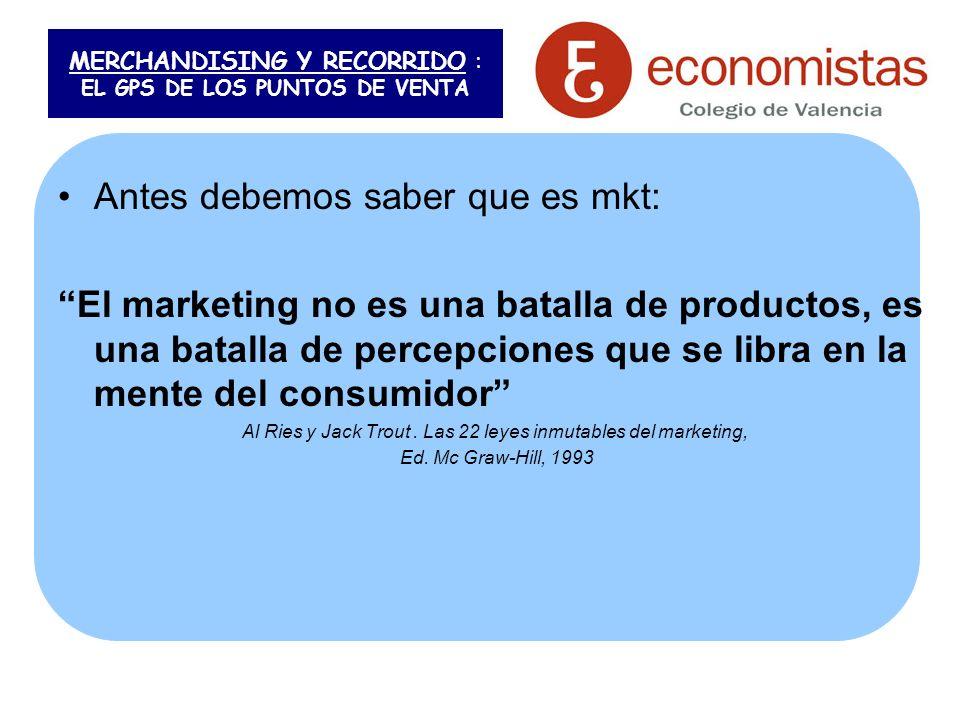 MERCHANDISING Y RECORRIDO : EL GPS DE LOS PUNTOS DE VENTA Antes debemos saber que es mkt: El marketing no es una batalla de productos, es una batalla