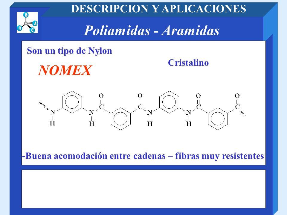 Poliamidas - Aramidas DESCRIPCION Y APLICACIONES Son un tipo de Nylon NOMEX -Buena acomodación entre cadenas – fibras muy resistentes Cristalino