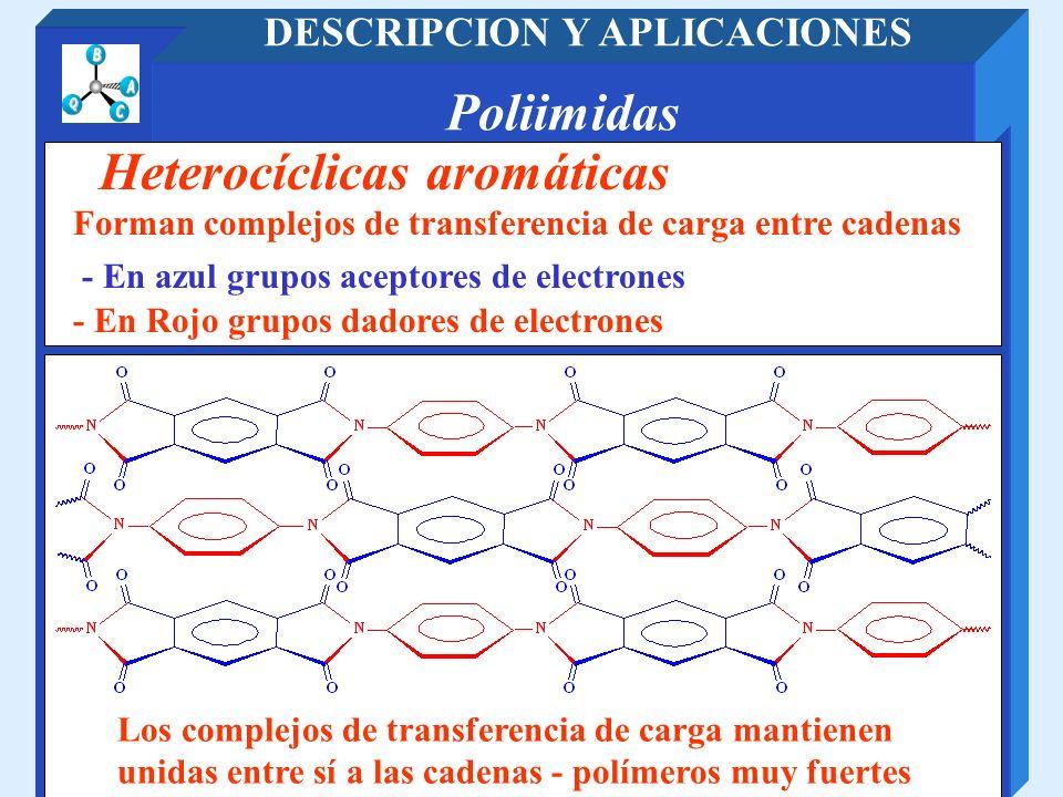 Poliimidas DESCRIPCION Y APLICACIONES - En Rojo grupos dadores de electrones Heterocíclicas aromáticas Forman complejos de transferencia de carga entr