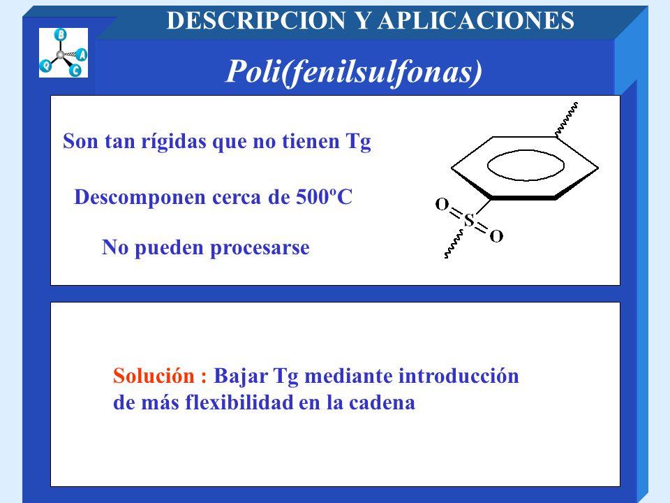 Poli(fenilsulfonas) DESCRIPCION Y APLICACIONES Solución : Bajar Tg mediante introducción de más flexibilidad en la cadena No pueden procesarse Descomp