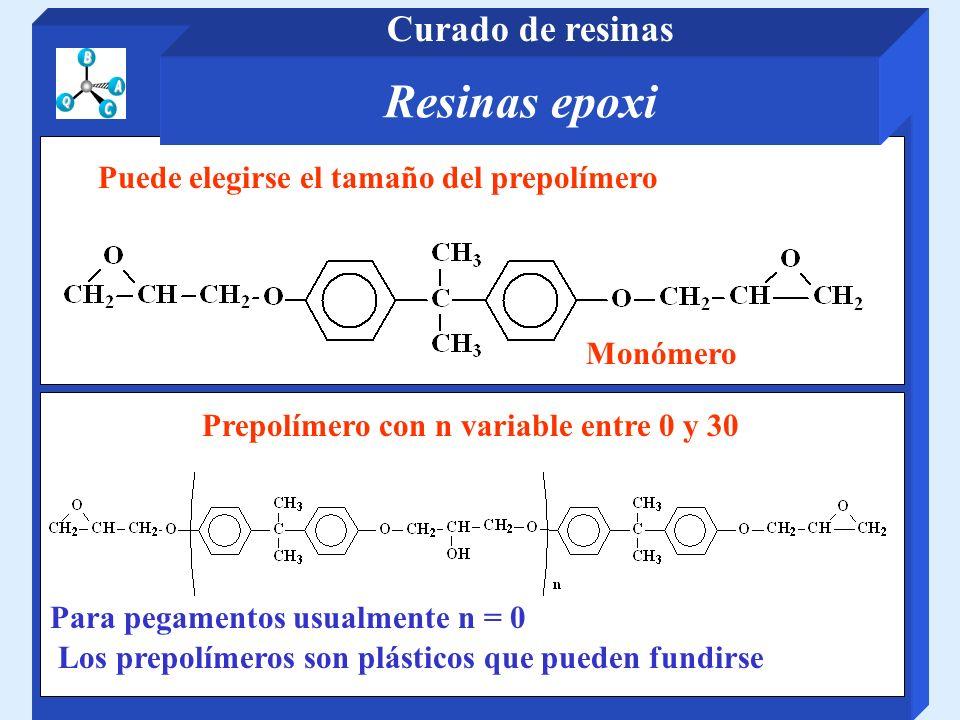 Monómero Prepolímero con n variable entre 0 y 30 Para pegamentos usualmente n = 0 Los prepolímeros son plásticos que pueden fundirse Puede elegirse el