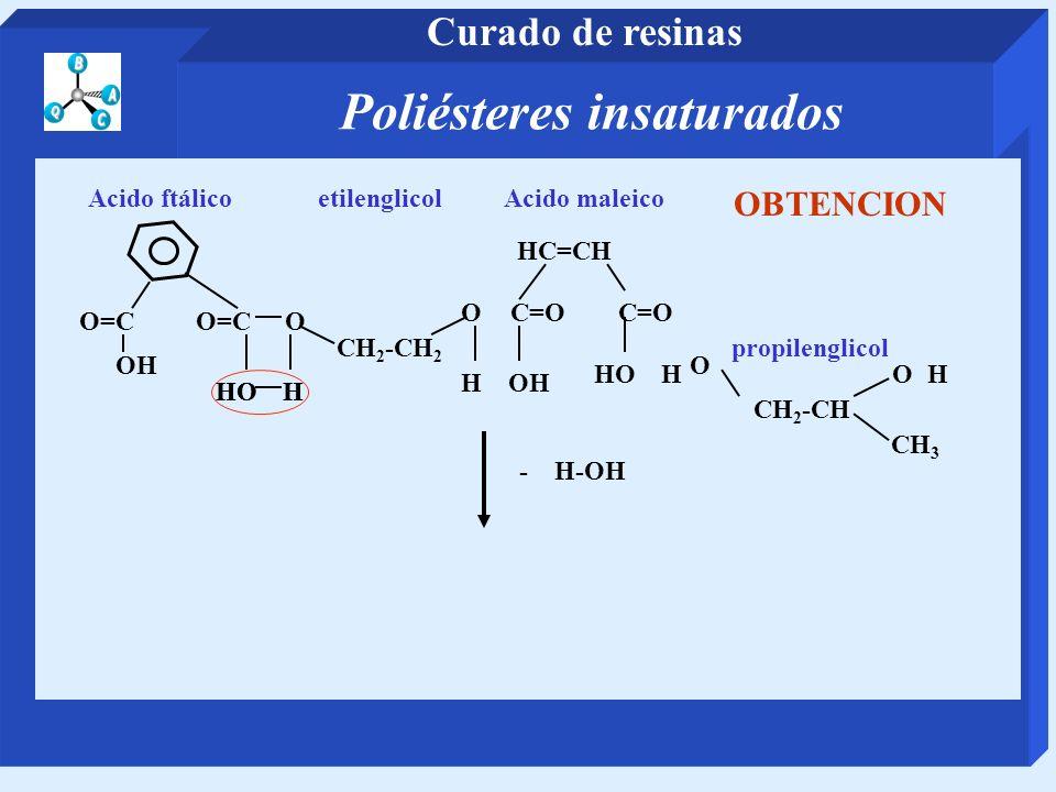 Poliésteres insaturados Curado de resinas CH 2 -CH 2 etilenglicol O=C O Acido ftálico OC=O HC=CH Acido maleico CH 2 -CH propilenglicol O CH 3 - H-OH O