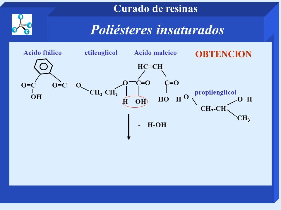 CH 2 -CH 2 etilenglicol O=C O Acido ftálico OC=O HC=CH Acido maleico CH 2 -CH propilenglicol O CH 3 - H-OH H OH OH OH OBTENCION Poliésteres insaturado