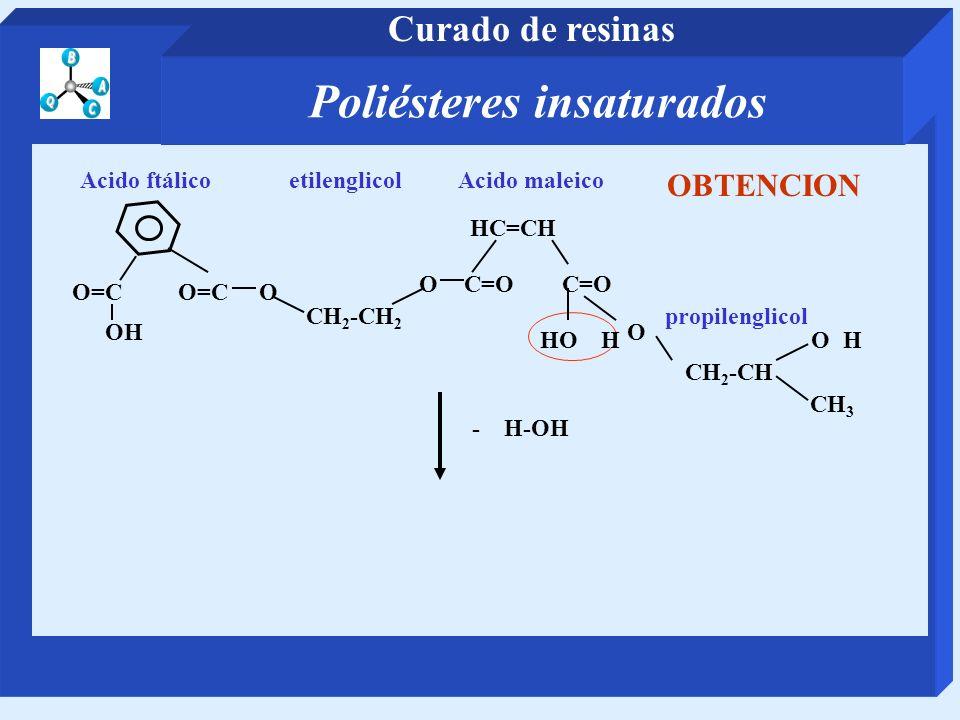 CH 2 -CH 2 etilenglicol O=C O Acido ftálico OC=O HC=CH Acido maleico CH 2 -CH propilenglicol O CH 3 - H-OH HO H OH OH OBTENCION Poliésteres insaturado