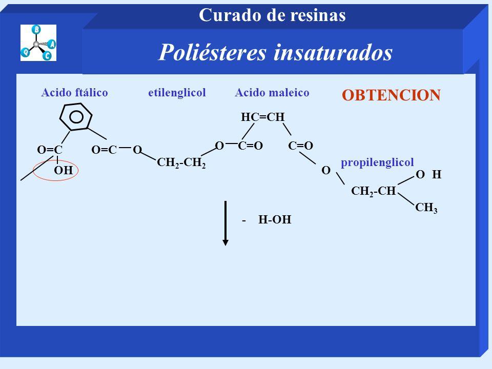 CH 2 -CH 2 etilenglicol O=C O Acido ftálico OC=O HC=CH Acido maleico CH 2 -CH propilenglicol O CH 3 - H-OH OH OH OBTENCION Poliésteres insaturados Cur