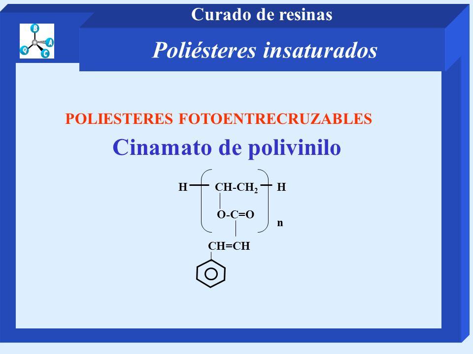 POLIESTERES FOTOENTRECRUZABLES Cinamato de polivinilo HCH-CH 2 n H O-C=O CH=CH Poliésteres insaturados Curado de resinas