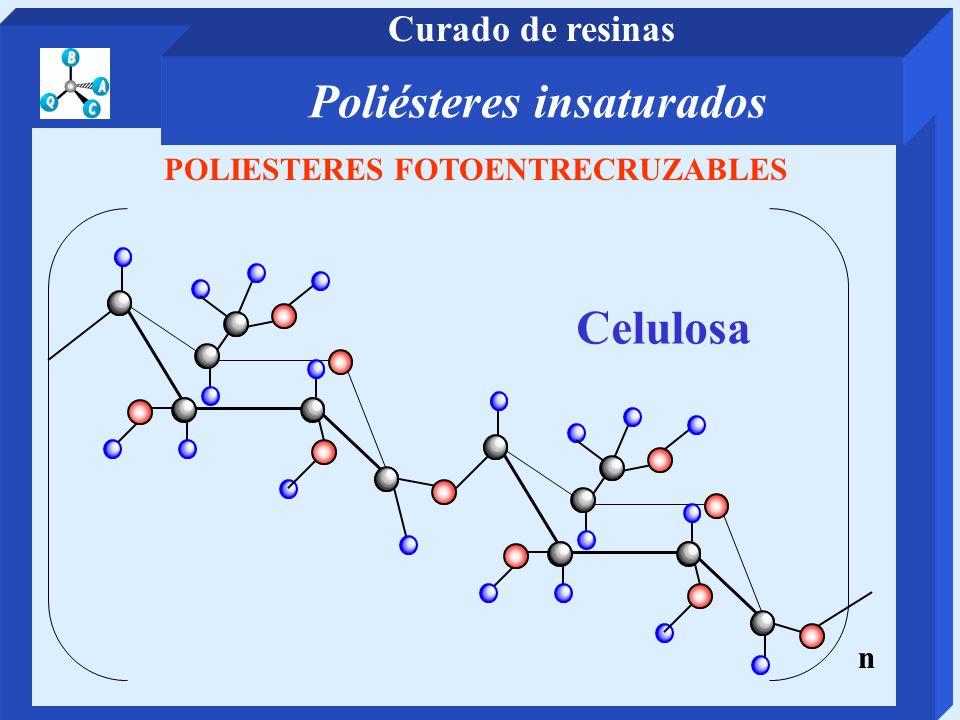 POLIESTERES FOTOENTRECRUZABLES Celulosa n Poliésteres insaturados Curado de resinas