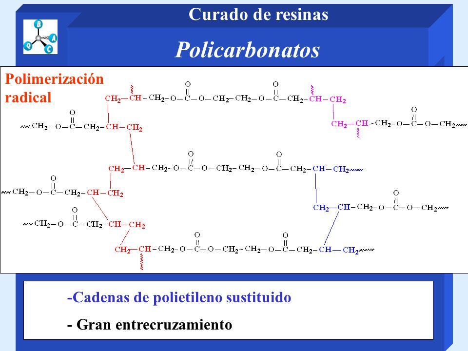 Policarbonatos Curado de resinas Polimerización radical -Cadenas de polietileno sustituido - Gran entrecruzamiento
